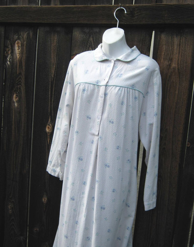 Blue Posy Printed Flannel Nightgown; Petite 14Large; Peter Pan Collar; Calf-Ankle Length; ComfyWorn