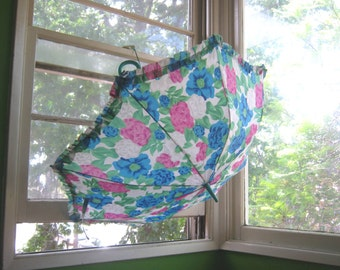 Blue Flower Print Umbrella in Pink/Green/Blue; Feminine Vintage Floral Rain Umbrella w/ Teal Handle; U.S. Shipping Included