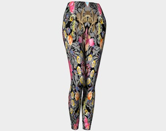 a2d5b5f622 Black with Grey Damask Print with Colorful Flowers Fashion Leggings, Yoga,  Dance Wear, Active Wear, Fashion - Funky Leggings