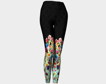 76e88595ad2cc Fashionable, Black, Floral, Knee High, Designer Leggings, Yoga Leggings, Gym  Wear, Active Wear, Sexy Leggings, Festival Wear, Dance Wear