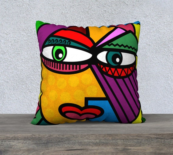 Art Picasso Style Face Pillow Cover Head Abstract Art Etsy