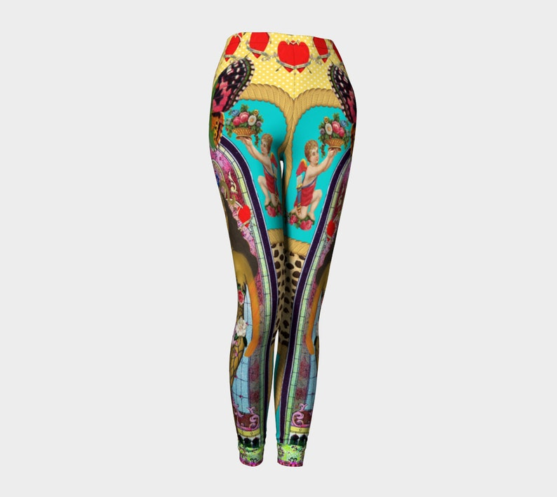 Active Wear Flowers Dance Tights Festival Clothing Love Hearts Leggings Funky Aries Goddess Cherubs Leggings Yoga Leggings Butterfly