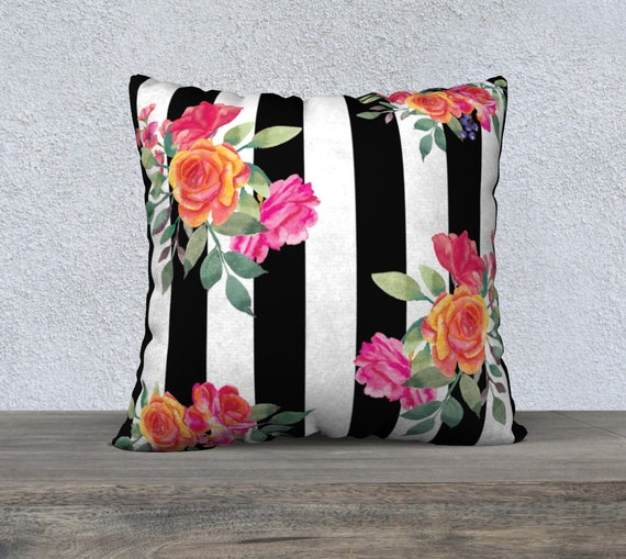 Striped Watercolor Flower Bouquet Pillow Cover Black And Etsy