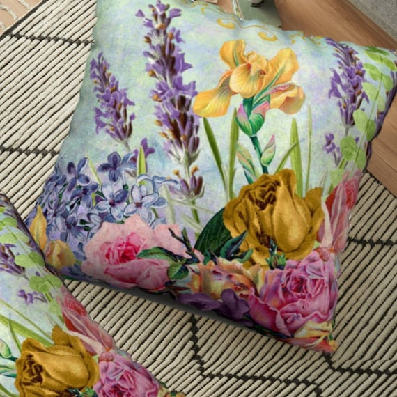 Vintage Flowers Lavender Pillow Cover French Country Style Etsy