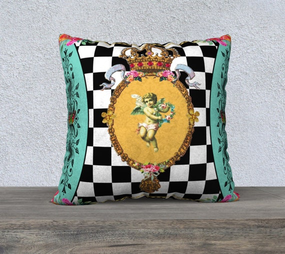 Upholstery Velveteen Throw Pillow Black and White Decorative Pillow Stunning Water Color Garden Cushion Cover Checkerboard Large Pillow