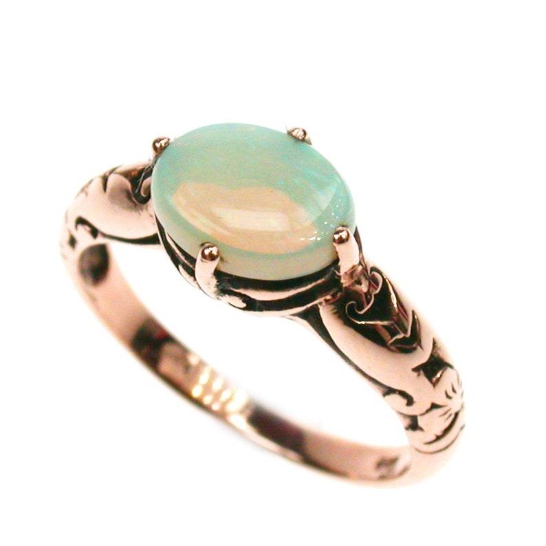 88d3851434bf Anillo Vintage de oro rosa Opal 14K 18K 9K 9ct oro ópalo