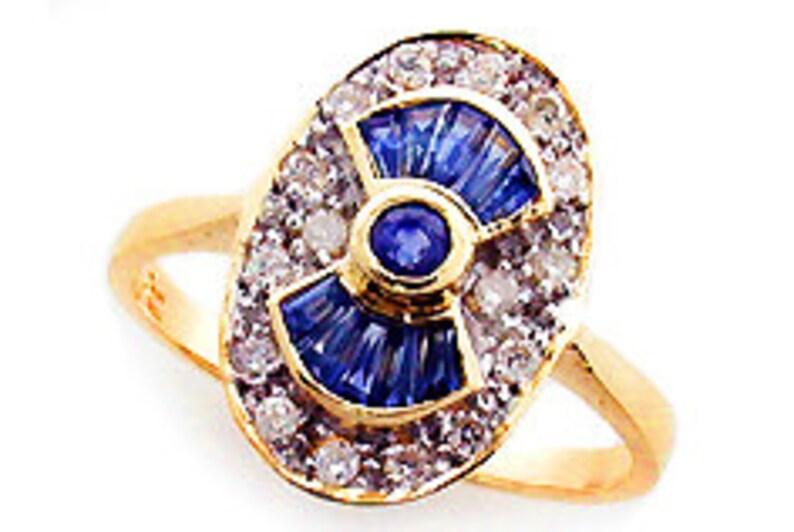 7d01f52aced9 Art Deco zafiro anillo 10 k 9k 14 k 18k diamante zafiro Vintage, anillo,  9ct oro rubí Esmeralda anillo sólido, costumbre de las mujeres de estilo ...