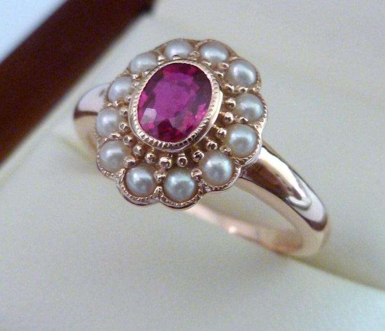 c2f14f64d5f0 Rosa oro rubí y perla anillo victoriano rubí 9ct 9 k 14k 18ct