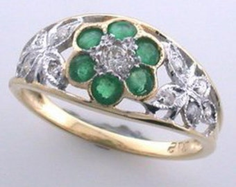 Butterfly Emerald & Diamond Ring, Vintage Inspired, Flower Diamond Ring, 9ct 9K Solid Gold, Also Avail in 14k 18k, Sapphire  Ruby Custom R64
