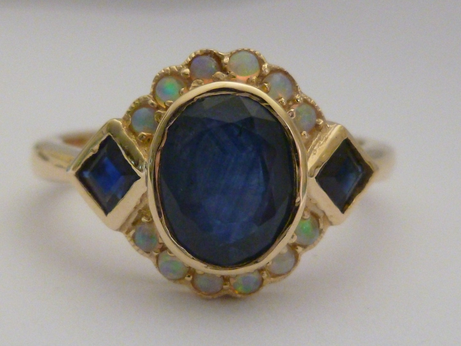Gold Sapphire Ring Vintage Opal Ring Antique 9ct 9k Gold