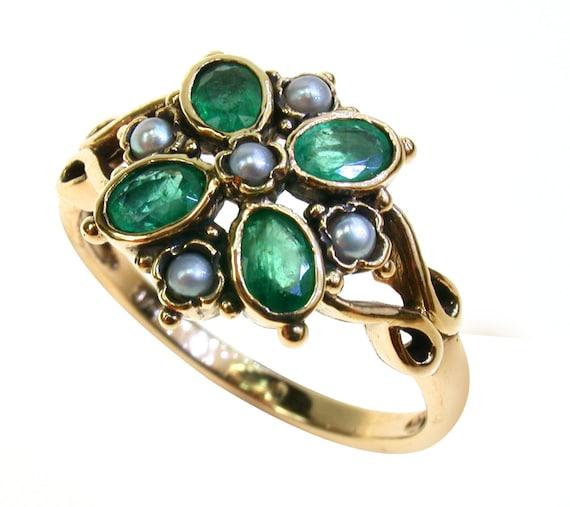 Real Esmeralda pendientes de oro 9ct Nuevo