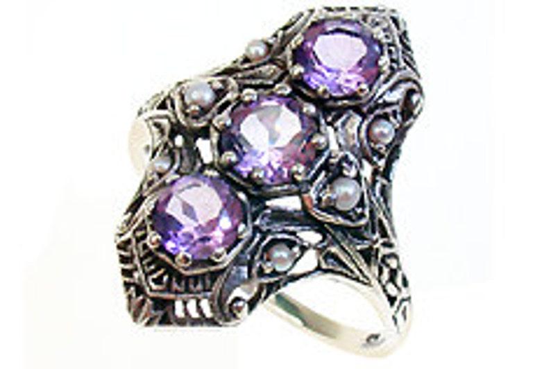 85a1995c5bd3 Vintage amatista y perla anillo oro blanco provecho 14 k 18k
