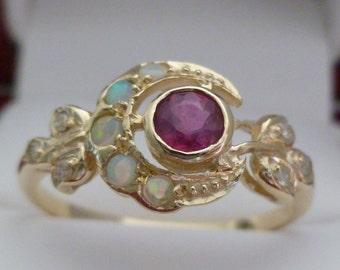 Vintage Ruby Ring, 9ct 9k Gold Opal Ring, Diamond Antique Style, Rose White 14K 18K Womens Moon Ring, Victorian, R25, Custom Ring