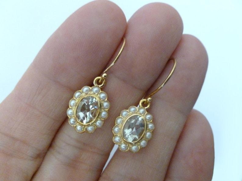 c09180ca81f1 Pendientes Amatista verdes vintage y perlas oro sólido 9ct 9