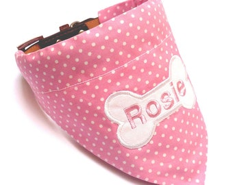 Personalised Dog Bandana - Pink and White Polka Dot