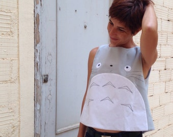 Open back totoro crop top, totoro clothing, totoro blouse for woman, adults totoro clothing, open back surprised totoro top, for her