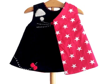 Black cat embroidered dress for babies  NB up 18 months