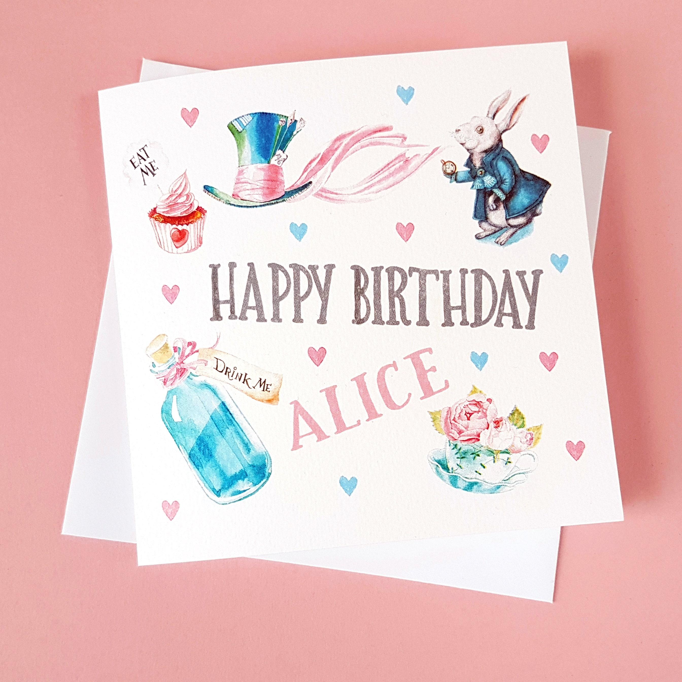 Personalised Birthday Card Alice In Wonderland