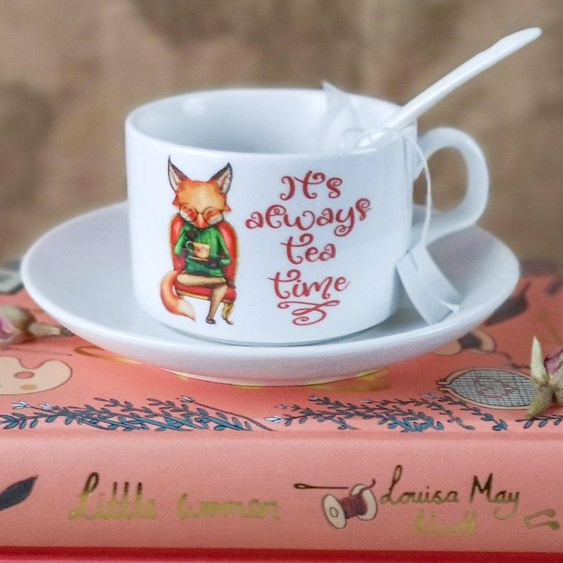 Alice in Wonderland thee tijd Cup schotel & lepel Bone China image 0