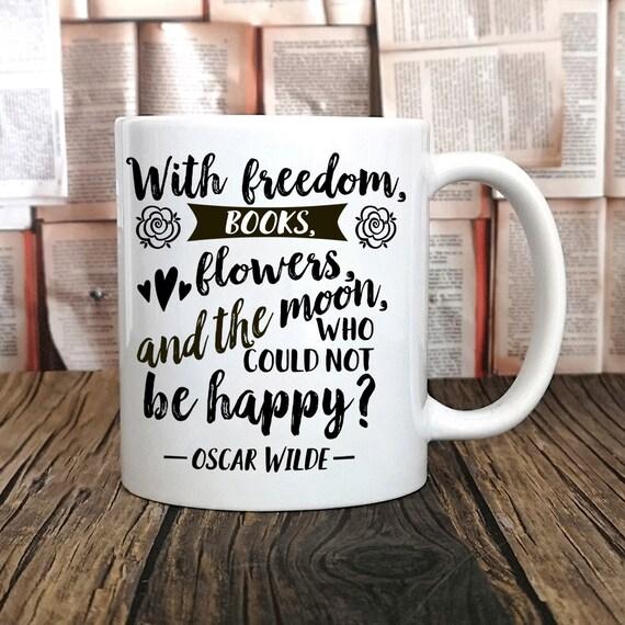 Oscar Wilde-Buch-Becher mit Freiheit Bücher Blumen und dem | Etsy