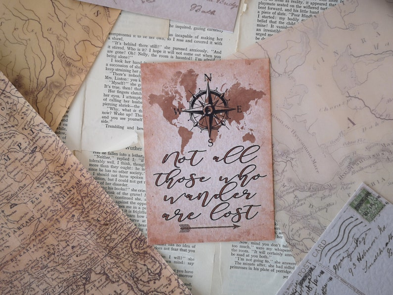 Not All Those Who Wander Are Lost Vintage Styled Art Print - Cozy Rustic  Wanderlust, World Map Vintage Compass Design, UNFRAMED A4, A5, A6