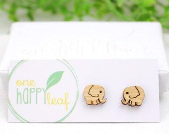 Elephant studs cute earrings - elephant earrings - eco friendly cute wooden elephants ear studs - elephant jewelry