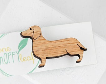 Dachshund Dog Brooch Wooden Badge Puppy Pin Brown Doxie Natural Wood Sausage