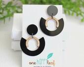 Black dangle earrings - earrings for work - gift for friend