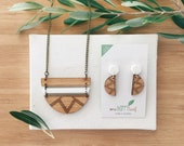 Jewellery gift set - gift for giftfriend - necklace and earring set - eco jewellery - wood anniversary gift