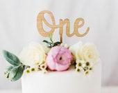 One cake topper, number cake topper, birthday cake topper, first birthday cake topper, wooden cake topper