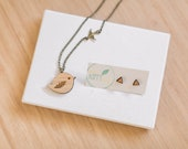 Jewellery gift set - bird necklace and triangle stud earring set - eco gifts - eco jewellery gifts