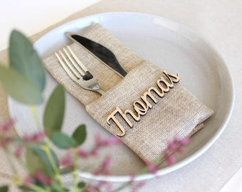 Wedding name tags, wooden place cards, timber place cards for wedding guests, wedding names