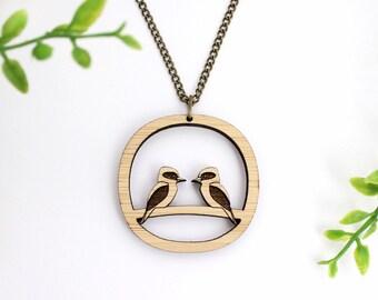 Bird necklace - Kookaburra necklace -  Australiana necklace - bird statement necklace - wooden bird necklace - abstract necklace
