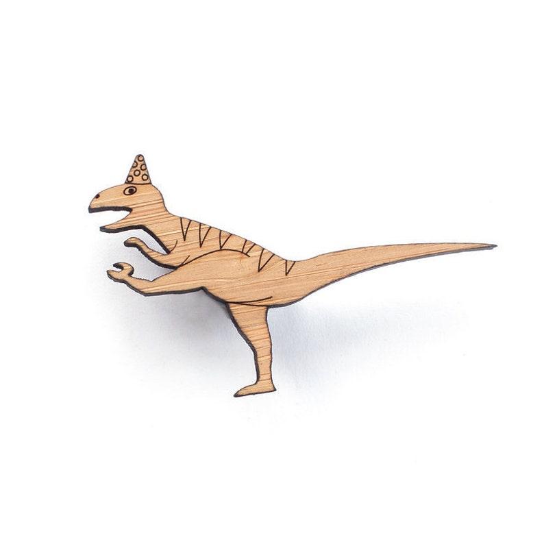 dinosaur badge fun gift nerd jewelry Dancing Dinosaur dinosaur jewelry raptor Dinosaur brooch
