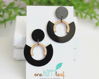 Black dangle earrings - earrings for work - gift for friend - abstract earrings - large earrings - long earrings