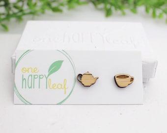 Tea earrings - Tea pot and tea cup earrings - tea lover jewelry - gift for tea lover - mismatched tea studs - cute tea earrings