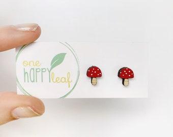 Mushroom earrings, Mushroom stud earrings - woodlands studs, fungi jewellery