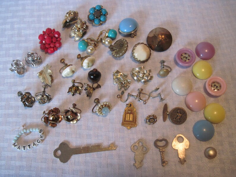 Earring Making Kit Antique Jewelry Charms Keys Supplies Vintage Earrings