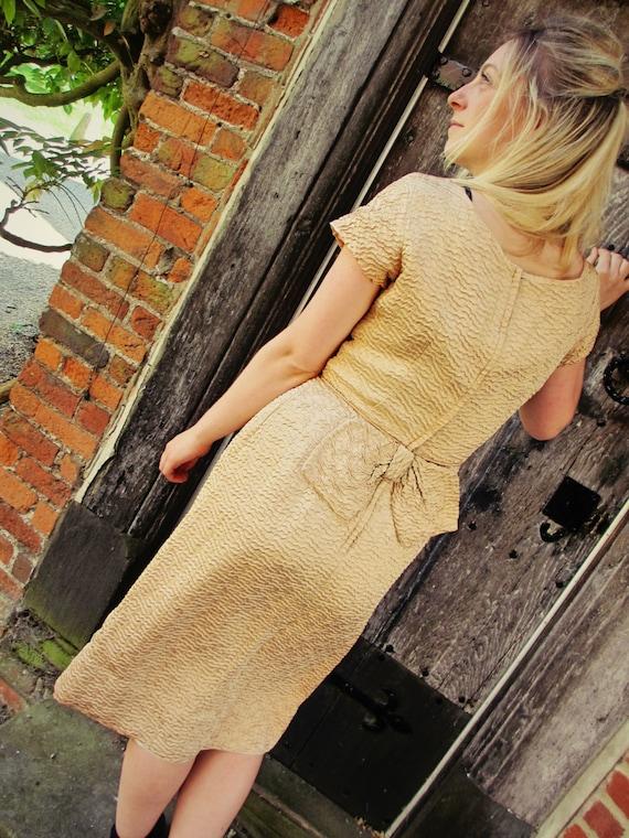 1950's Champagne Wiggle Dress