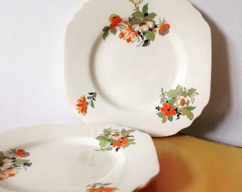 Pair of 1930s Art Deco Floral Cake / Sandwich Plates Phoenix Ware