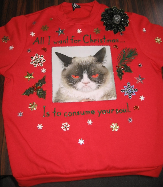 8f38c81108d Evil Cat Ugly Christmas Sweater Sweatshirt New Handpainted Glitter Unisex  Small Red Funny Grumpy Cat Meowy Christmas