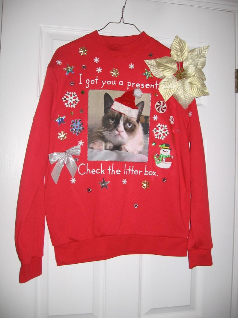 Grumpy Cat Ugly Christmas Sweater.Grumpy Cat Ugly Christmas Sweater Sweatshirt New Handpainted Glitter Santa Hat Medium Red Internet Meme Meowy Christmas