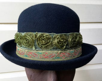 3f72971b2e0 Top hat black wool green rose trim Burning man burlesque size S