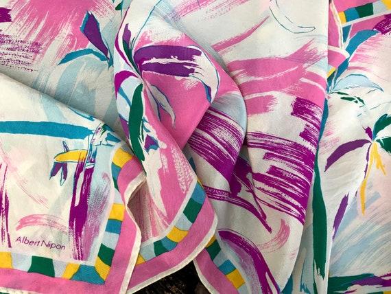 Vintage Silk Scarf 'Albert Nipon' Palm Tree Print… - image 2