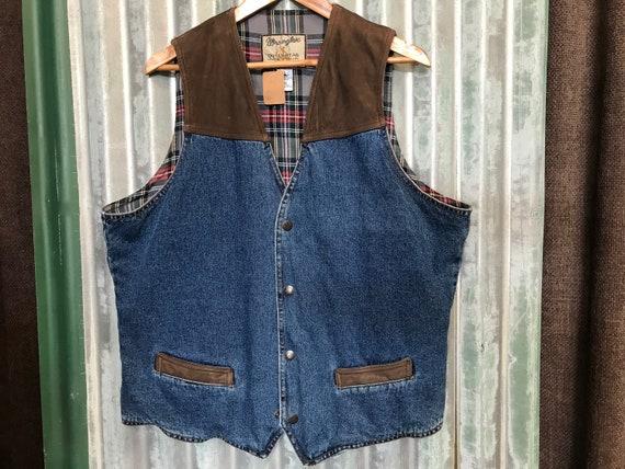 Vintage Wrangler Denim Vest Detail Leather  Sz XXL