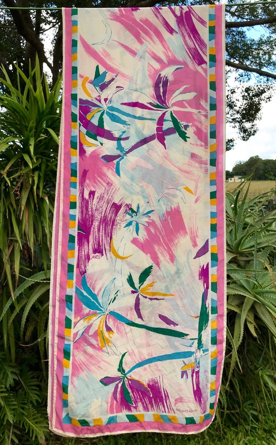 Vintage Silk Scarf 'Albert Nipon' Palm Tree Print… - image 1