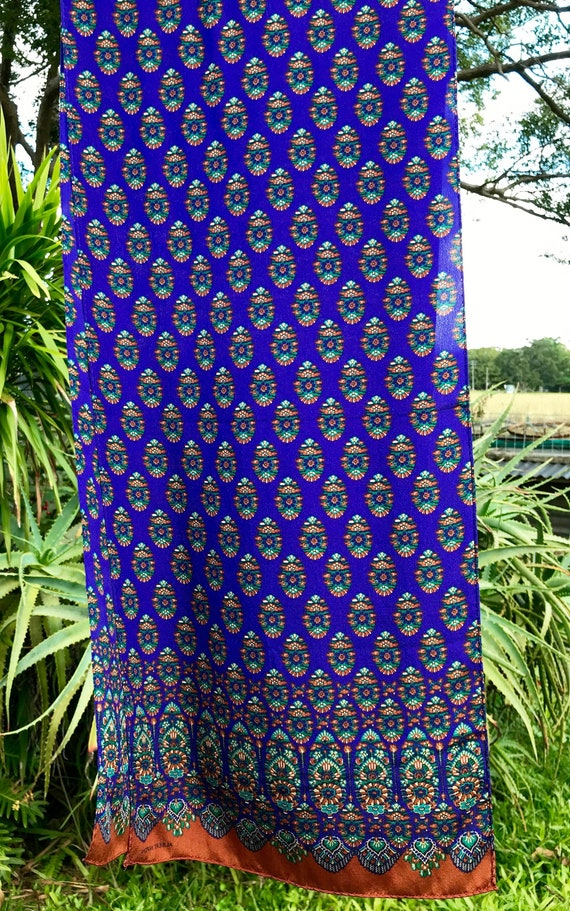 Vintage Silk Scarf 'Albert Nipon' Geometric Flora… - image 1