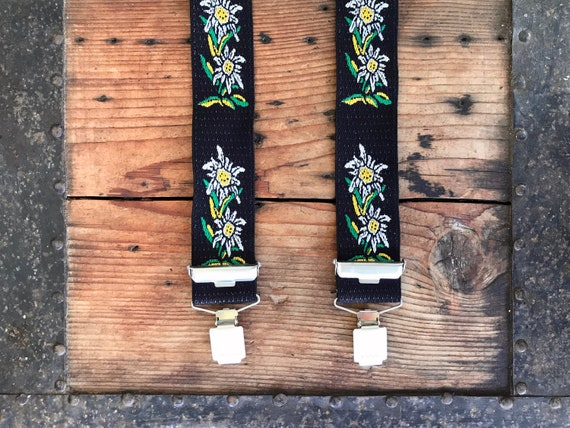Vintage Braces - Black with Daisy Print - OOAK