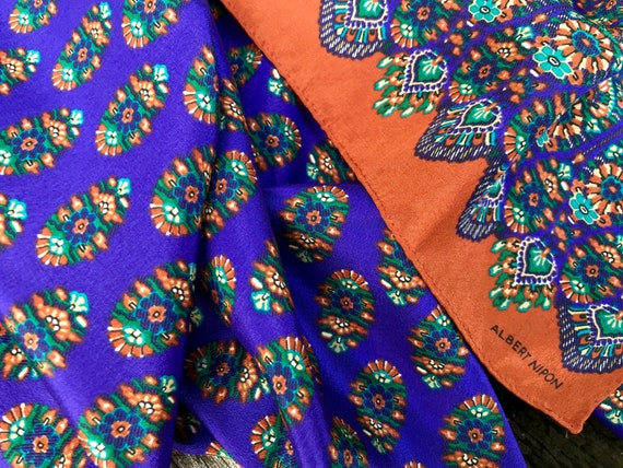 Vintage Silk Scarf 'Albert Nipon' Geometric Flora… - image 2