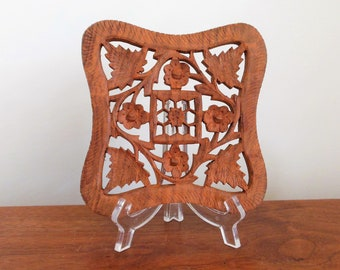 Wood Trivet Carved Wooden Footed Hot Pad Holder Made in India with Flowers Vines and Leaves